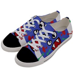 Monster Virus Blue Cart Big Eye Red Green Women s Low Top Canvas Sneakers by AnjaniArt
