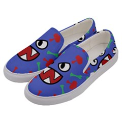 Monster Virus Blue Cart Big Eye Red Green Men s Canvas Slip Ons by AnjaniArt