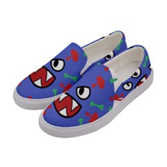 Monster Virus Blue Cart Big Eye Red Green Women s Canvas Slip Ons by AnjaniArt
