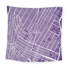 New York Map Art City Street Purple Line Square Tapestry (large)