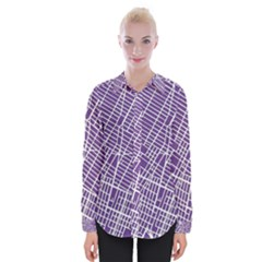 New York Map Art City Street Purple Line Womens Long Sleeve Shirt by AnjaniArt