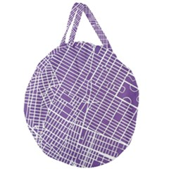 New York Map Art City Street Purple Line Giant Round Zipper Tote by AnjaniArt