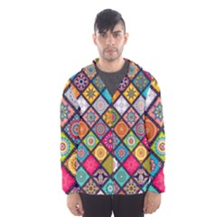 Flower Star Sign Rainbow Sexy Plaid Chevron Wave Hooded Wind Breaker (men)