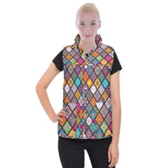 Flower Star Sign Rainbow Sexy Plaid Chevron Wave Women s Button Up Puffer Vest by AnjaniArt