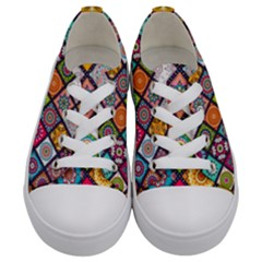 Flower Star Sign Rainbow Sexy Plaid Chevron Wave Kids  Low Top Canvas Sneakers
