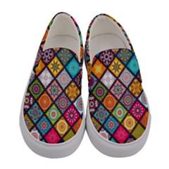 Flower Star Sign Rainbow Sexy Plaid Chevron Wave Women s Canvas Slip Ons
