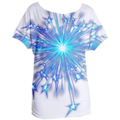Fireworks Sky Blue Silver Light Star Sexy Women s Oversized Tee by AnjaniArt