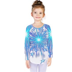 Fireworks Sky Blue Silver Light Star Sexy Kids  Long Sleeve Tee by AnjaniArt