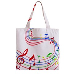 Rainbow Red Green Yellow Music Tones Notes Rhythms Zipper Grocery Tote Bag