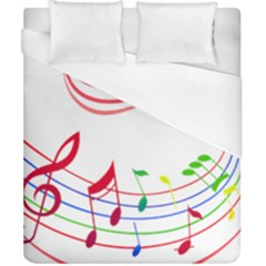 Rainbow Red Green Yellow Music Tones Notes Rhythms Duvet Cover (california King Size)
