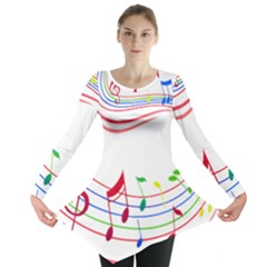 Rainbow Red Green Yellow Music Tones Notes Rhythms Long Sleeve Tunic