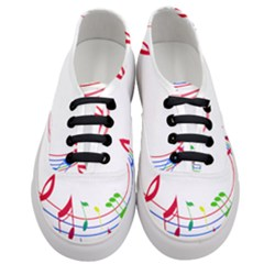 Rainbow Red Green Yellow Music Tones Notes Rhythms Women s Classic Low Top Sneakers