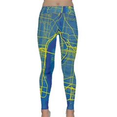 Philadelphia New York Map Art City Classic Yoga Leggings by AnjaniArt