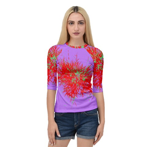 Spot Paint Red Green Purple Sexy Quarter Sleeve Raglan Tee by AnjaniArt