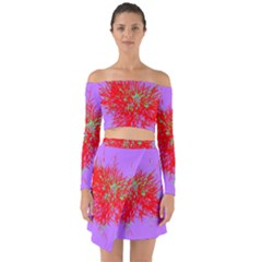 Spot Paint Red Green Purple Sexy Off Shoulder Top With Skirt Set