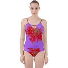 Spot Paint Red Green Purple Sexy Cut Out Top Tankini Set