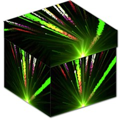 Seamless Colorful Green Light Fireworks Sky Black Ultra Storage Stool 12   by AnjaniArt