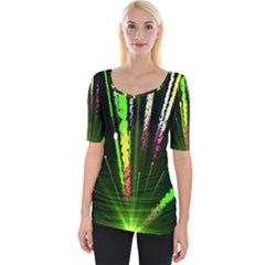 Seamless Colorful Green Light Fireworks Sky Black Ultra Wide Neckline Tee by AnjaniArt