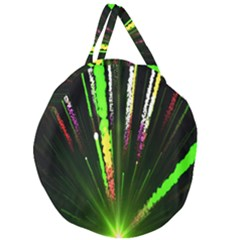 Seamless Colorful Green Light Fireworks Sky Black Ultra Giant Round Zipper Tote by AnjaniArt