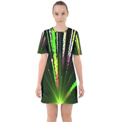 Seamless Colorful Green Light Fireworks Sky Black Ultra Sixties Short Sleeve Mini Dress
