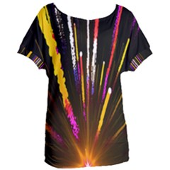 Seamless Colorful Light Fireworks Sky Black Ultra Women s Oversized Tee