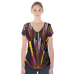 Seamless Colorful Light Fireworks Sky Black Ultra Short Sleeve Front Detail Top by AnjaniArt
