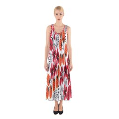 Rose Flower Red Orange Sleeveless Maxi Dress by AnjaniArt