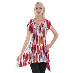 Rose Flower Red Orange Short Sleeve Side Drop Tunic