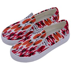 Rose Flower Red Orange Kids  Canvas Slip Ons by AnjaniArt