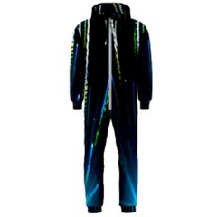 Seamless Colorful Blue Light Fireworks Sky Black Ultra Hooded Jumpsuit (men)  by AnjaniArt