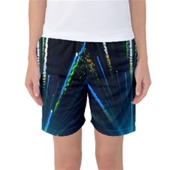 Seamless Colorful Blue Light Fireworks Sky Black Ultra Women s Basketball Shorts