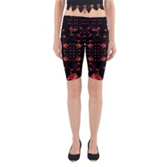 Roses From The Fantasy Garden Yoga Cropped Leggings by pepitasart