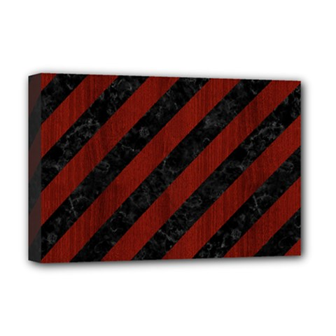 Stripes3 Black Marble & Reddish Brown Wood (r) Deluxe Canvas 18  X 12   by trendistuff
