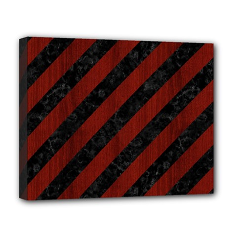 Stripes3 Black Marble & Reddish Brown Wood (r) Deluxe Canvas 20  X 16   by trendistuff