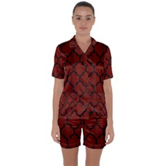 Tile1 Black Marble & Reddish Brown Wood Satin Short Sleeve Pyjamas Set by trendistuff