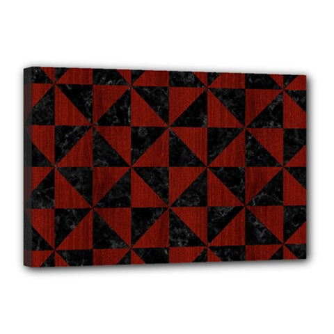 Triangle1 Black Marble & Reddish Brown Wood Canvas 18  X 12  by trendistuff