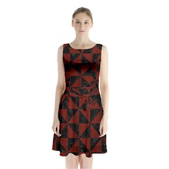Triangle1 Black Marble & Reddish Brown Wood Sleeveless Waist Tie Chiffon Dress