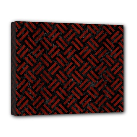 Woven2 Black Marble & Reddish Brown Wood (r) Deluxe Canvas 20  X 16   by trendistuff