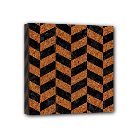 Chevron1 Black Marble & Rusted Metal Mini Canvas 4  X 4  by trendistuff
