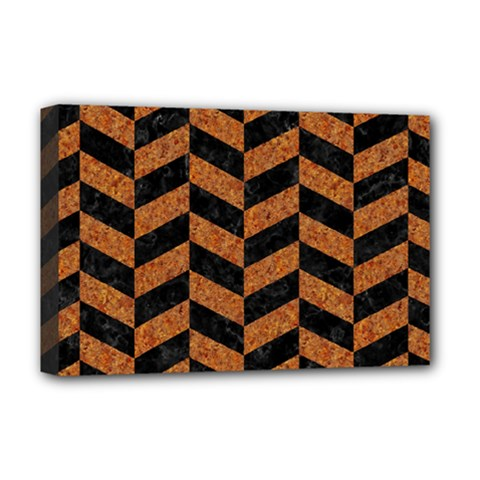 Chevron1 Black Marble & Rusted Metal Deluxe Canvas 18  X 12   by trendistuff