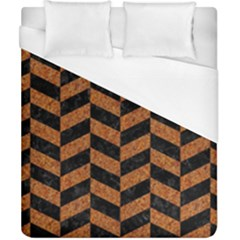 Chevron1 Black Marble & Rusted Metal Duvet Cover (california King Size) by trendistuff