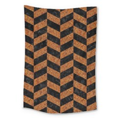 Chevron1 Black Marble & Rusted Metal Large Tapestry by trendistuff