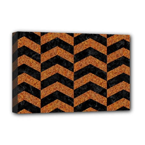 Chevron2 Black Marble & Rusted Metal Deluxe Canvas 18  X 12   by trendistuff