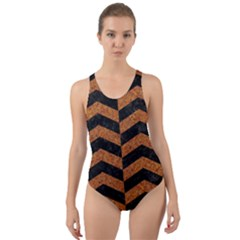 Chevron2 Black Marble & Rusted Metal Cut Out Back One Piece Swimsuit