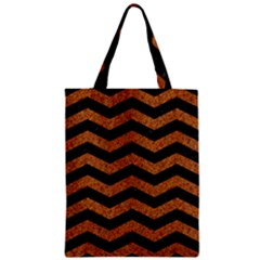 Chevron3 Black Marble & Rusted Metal Zipper Classic Tote Bag by trendistuff