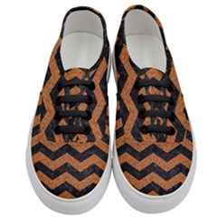 Chevron3 Black Marble & Rusted Metal Women s Classic Low Top Sneakers
