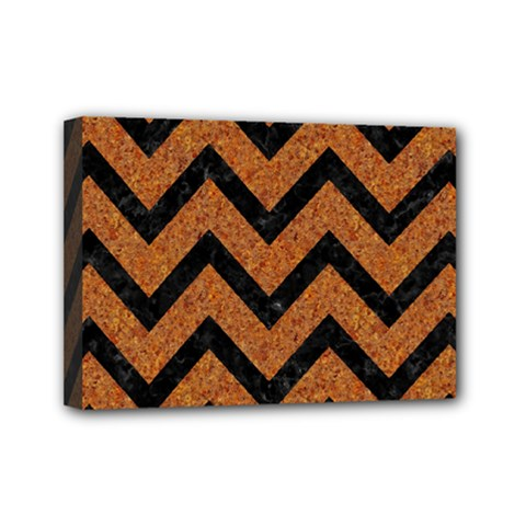Chevron9 Black Marble & Rusted Metal Mini Canvas 7  X 5  by trendistuff