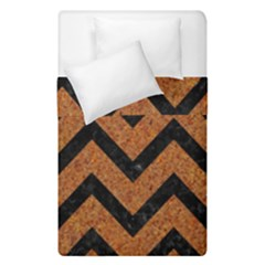 Chevron9 Black Marble & Rusted Metal Duvet Cover Double Side (single Size)