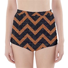 Chevron9 Black Marble & Rusted Metal (r) High Waisted Bikini Bottoms by trendistuff