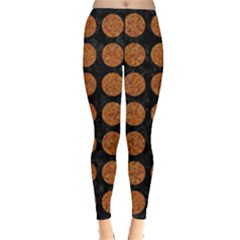 Circles1 Black Marble & Rusted Metal (r) Leggings